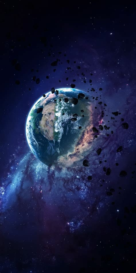 Download 1440x2880 wallpaper apocalyptic, earth, space