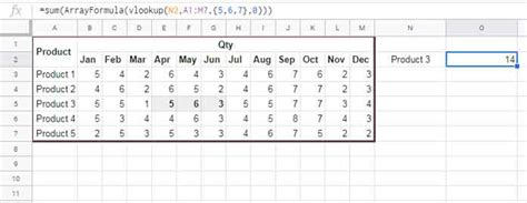 Vlookup with Sum in Multiple Rows in Google Sheets