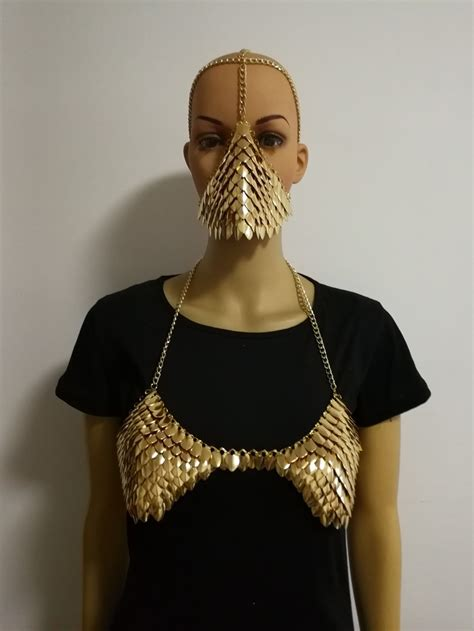 New Arrival B750 Women Sexy Gold Fish Scale Mask Head