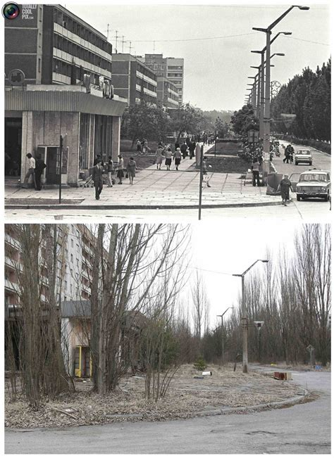 before and after view of the abandoned city of Prypiat