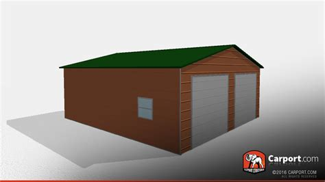 Double Wide Metal Garage 24' x 26' x 9' Clearance