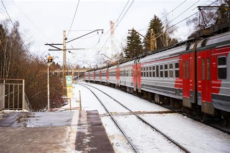 Electric Train Of Russian Railway Lastochka Stands At