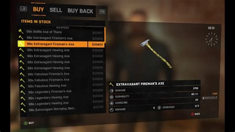 dying light the following all gold weapons list and