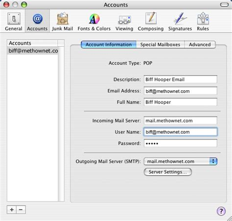 Setting up or editing a POP email account in Mac Mail