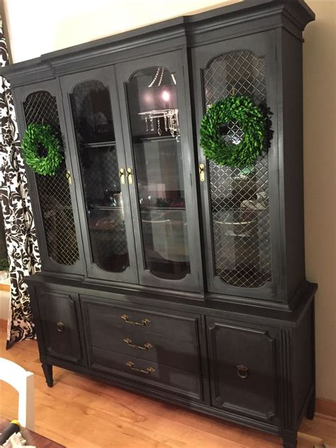 Annie Sloan Graphite with Black Wax Antique Hutch See the